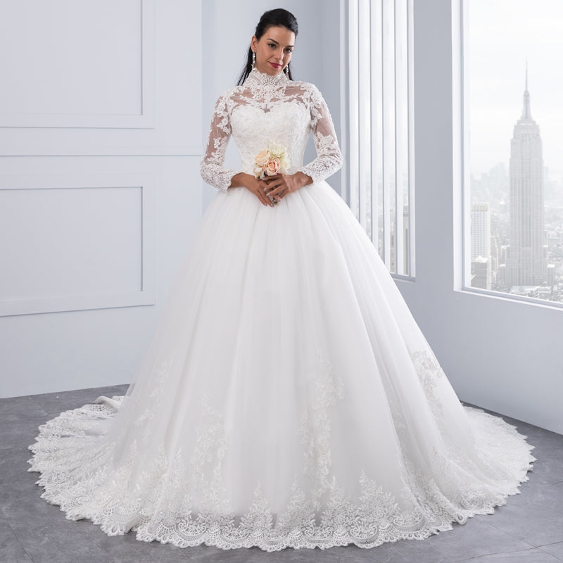 Plus size high neck Illusion back long sleeve Muslim Wedding Dress