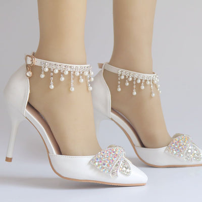 BS03 White Tassel Rhinestone Bridal Shoes