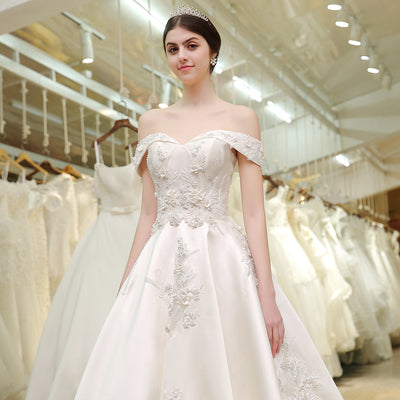 HW24 Off the shoulder Satin Wedding Gown with long tail