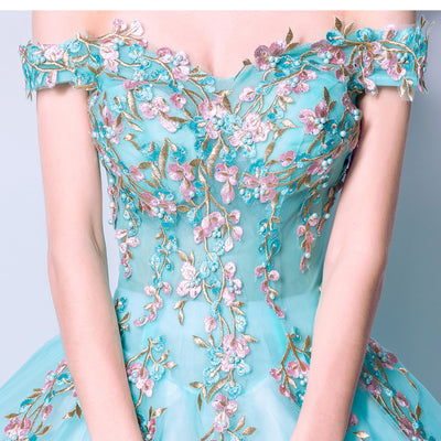 CG73 Turquoise Blue Embroidery Flower Debutante Dress