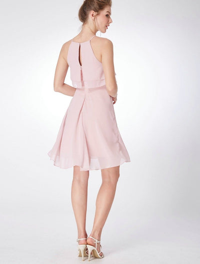 BH14 Cheap Pink Chiffon Bridesmaid Dresses