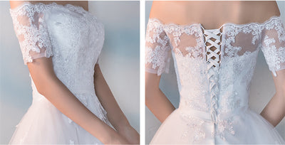 SS73 Boat Neck Short Sleeves Embroidery Ankle-length wedding Gown