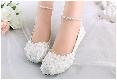 BS33 Ivory lace flower and pearl flat Bridal Shoes