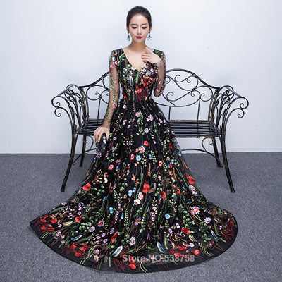 PP59 Embroidery long sleeve Prom Dresses(2 Colors)