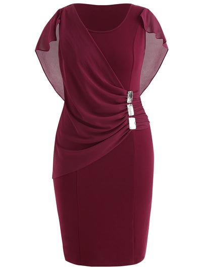MX99 Plus Size Sleeves overlay Scoop Neck Sheath Dresses(3 Colors)