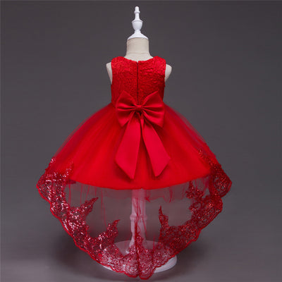 FG27- 4 Colors O-Neck Bow Bling Flower Girls Dresses