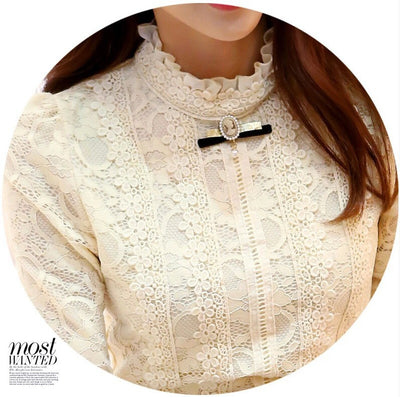 TJ04 Korean high neck long sleeve Blouse(Beige/Black)