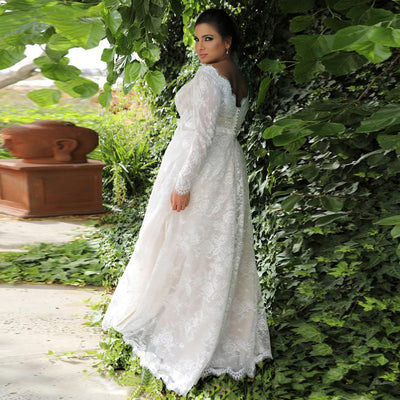 CW166 Plus size simple long sleeves  A-line Wedding Dress