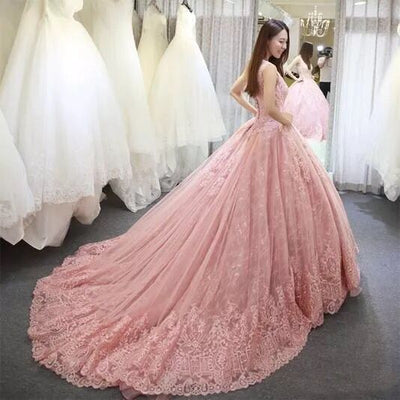 CG57 Plus size Sleeveless pink lace applique wedding dresses