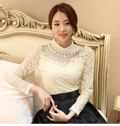 TJ05 Elegant Korean high neck Crochet Long Sleeve Blouse(3 Colors)
