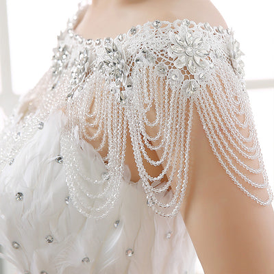 WJ02 Luxury  Lace Crystals Jacket Evening Dresses