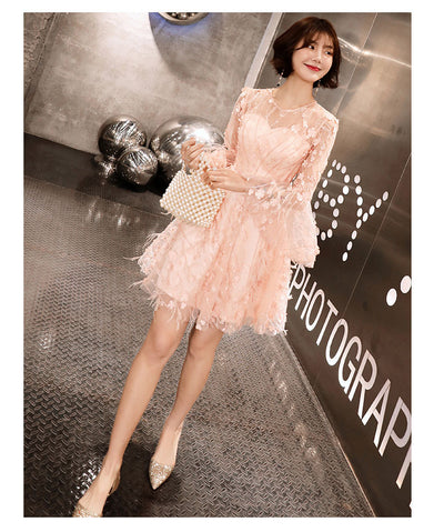 BH162 korean pink flare sleeve Bridesmaid Dress