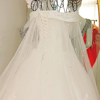 CW209 Boat neck Crystal Beaded Lace Wedding Gown with cape