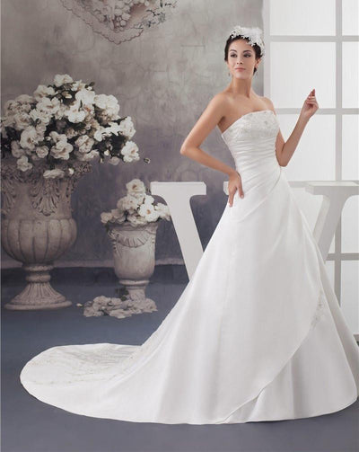 CW76 REal Picture Simple Strapless Satin Wedding Dress
