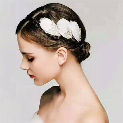 BJ57 : 3Pcs Feather Bridal Hairpins