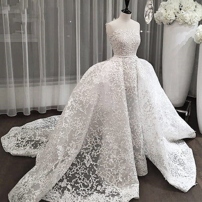 CW15 Arabic Bridal Gowns with overskirt