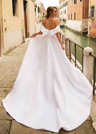 CW202 Simple Off The Shoulder A-line Wedding dress