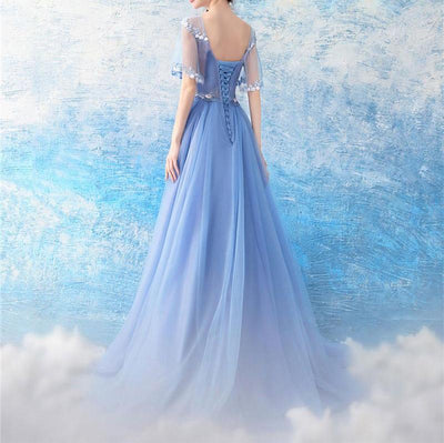 BH98 Elegant Blue Tulle Lace Flowers Bridesmaid Dress