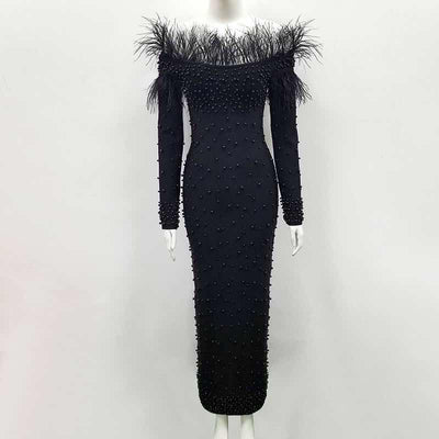 PP205 Long Sleeve Off The Shoulder with feather Celebrity Dresses(Black/White)