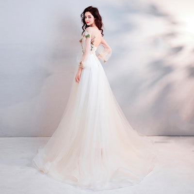 CG20 Champagne flower embroidery  Debutante Dress