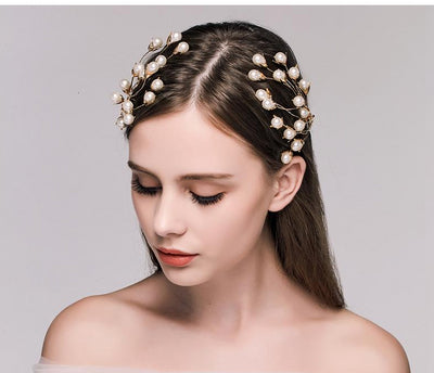 BJ48 : 2pcs Vintage pearls plant shape Bridal Hair Jewelry