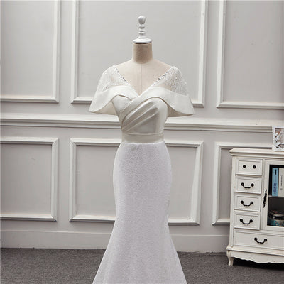 Fashion Batwing Sleeve sequins mermaid Wedding Dress