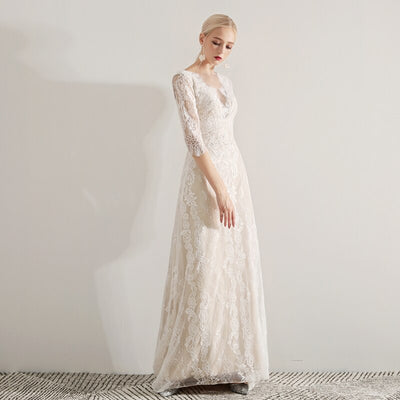 CW46 Bohemian Half Sleeves Wedding Dresses