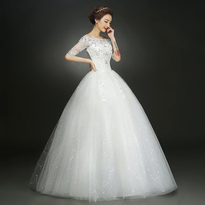 CG42 Cheap plus size boat neck half sleeve Wedding Dress