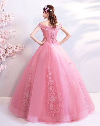 Pink Appliques Prom Dress