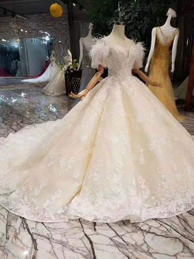 HW21 Luxury off the shoulder with feather wedding dress