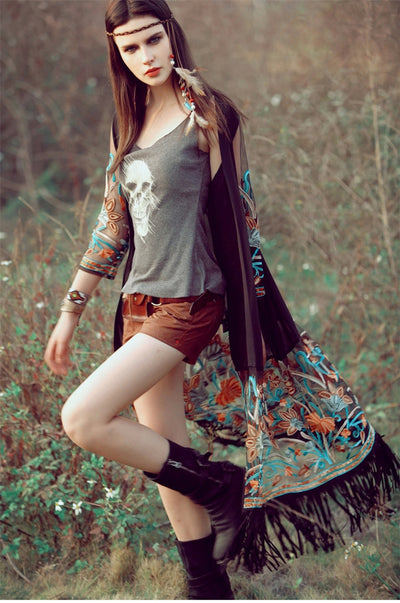 TJ09 Chic Embroidery Bohemian Tops