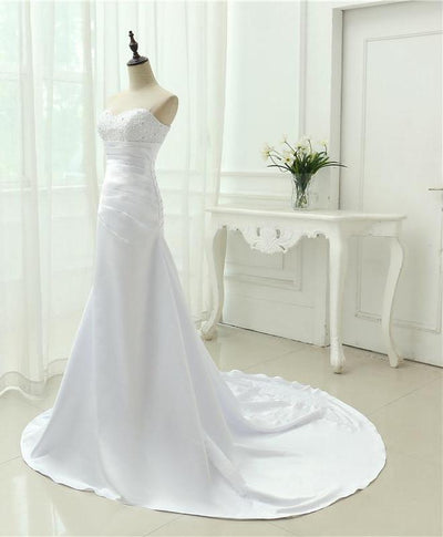 CW81 Real photo simple strapless Satin Bridal Gown