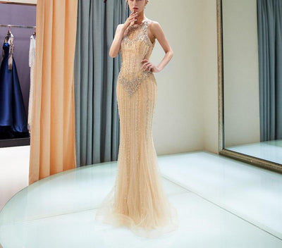 LG103 Luxury Gold Beaded  Mermaid Evening Gown