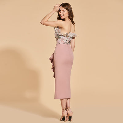 Elegant Strapless Tea Length Cocktail Dress
