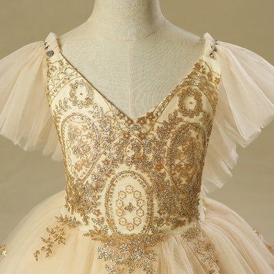 FG179 Gorgeous gold sequins Flower Girl Dresses