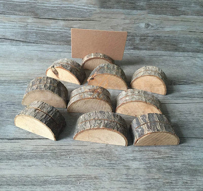 10pcs Wooden Cards Holders for  DIY Vintage Wedding Decor