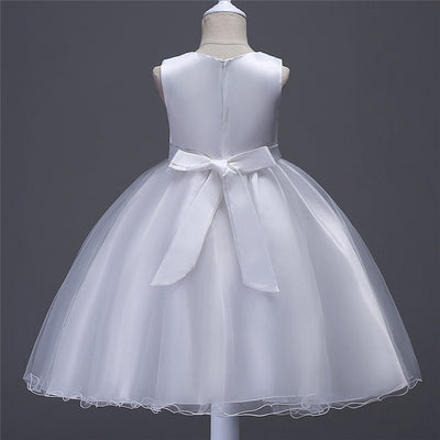 FG98 Sleeveless O-Neck Bow Embroidery Flower Girls Dress(5 Colors)
