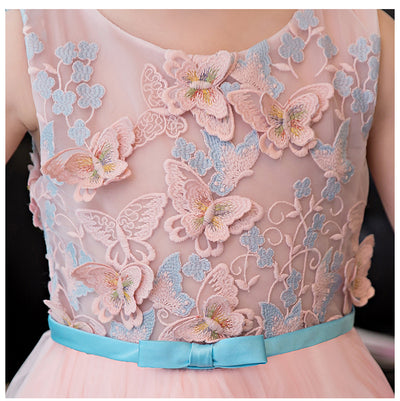 FG79 Elegant 3d flowers beaded Princess girl dress