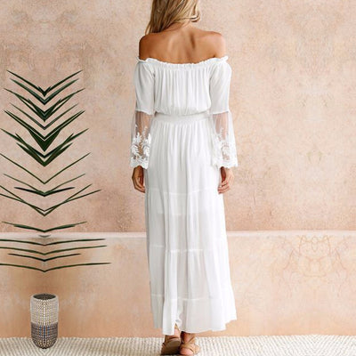 MX24 Summer White Bohemian Maxi Dress