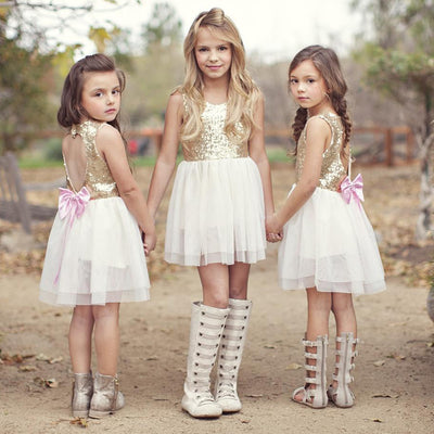 FG02 Golden Sequins Little Girls Dresses