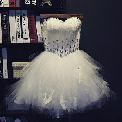 BH71 Strapless Feather Homecoming Dresses
