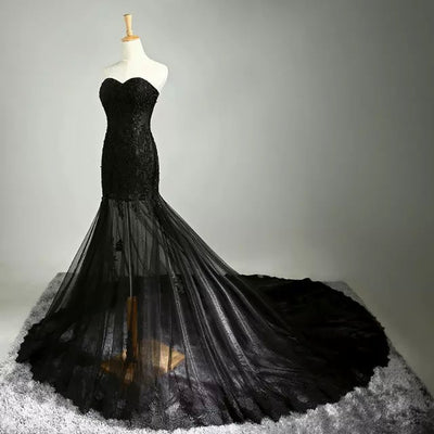 CG160 Real Photo Gothic mermaid Wedding dress