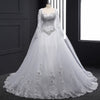Long sleeve Crystal beaded Wedding dress with watteau train
