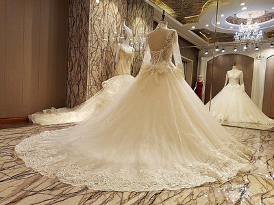 HW25 Luxury Ivory long sleeve lace up back wedding gowns