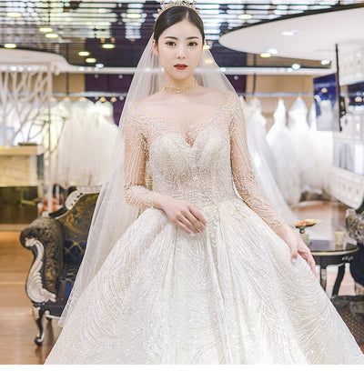 Luxurious Long sleeves sequin Bridal Gown