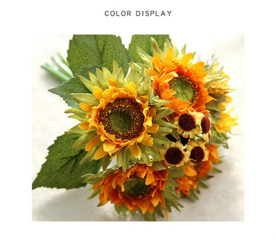 A bouquet of 5 sunflower heads for DIY Wedding,Party,Home Decor