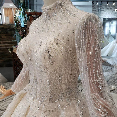 Luxury Sparkly high-neck long sleeve Wedding Dress