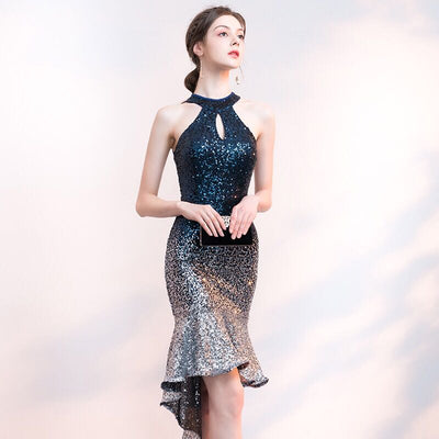 PP144 Halter Sequin Short Prom Dresses(2 Colors)
