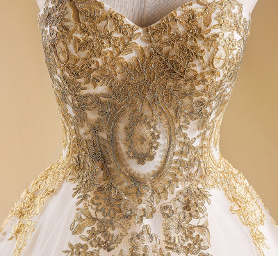 CG73 Sweetheart A Line  gold embroidery Wedding Gowns