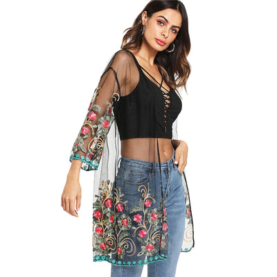 TJ11 See through Flower Embroidered  Kimono Blouse